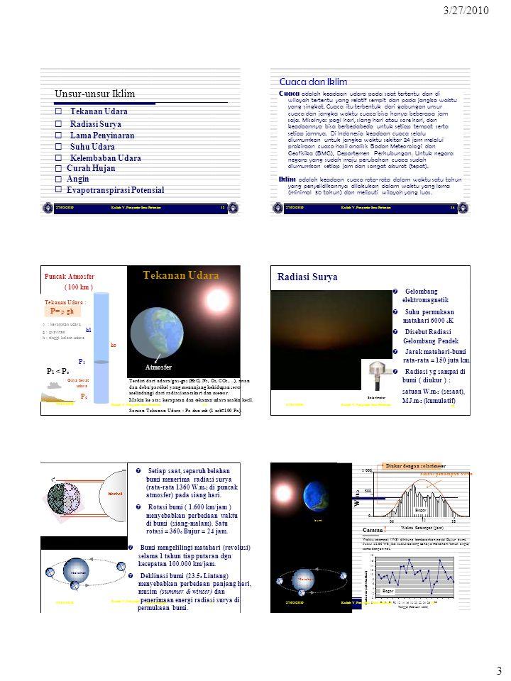 Terdiri dari udara/gas-gas (H2O, N2, O2, CO2 , ..), awan Solarimeter