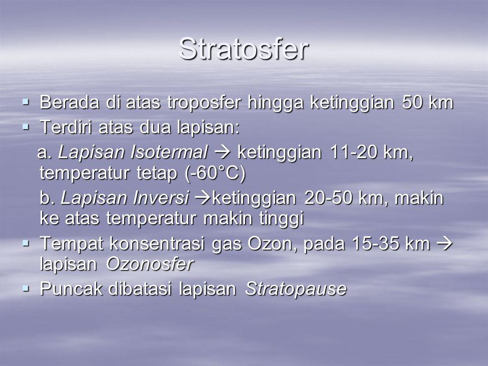 Stratosfer Berada di atas troposfer hingga ketinggian 50 km