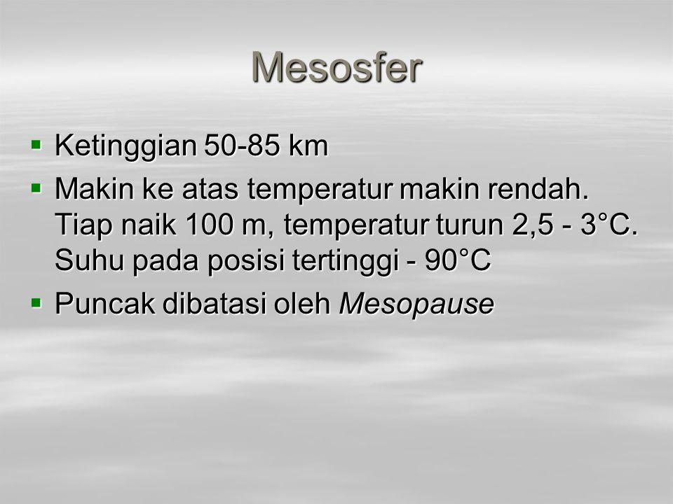 Mesosfer Ketinggian 50-85 km