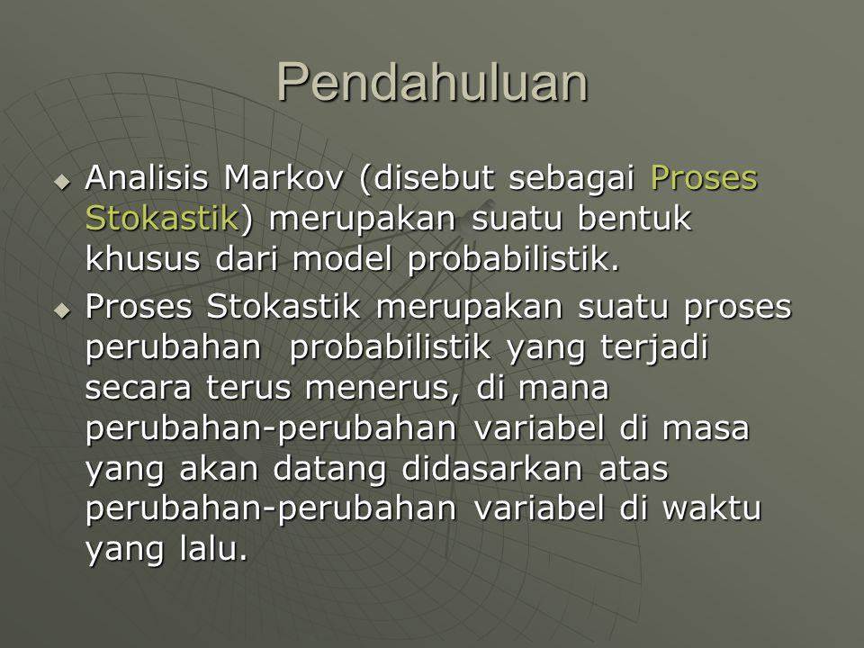 Pendahuluan Analisis Markov (disebut sebagai Proses Stokastik) merupakan suatu bentuk khusus dari model probabilistik.