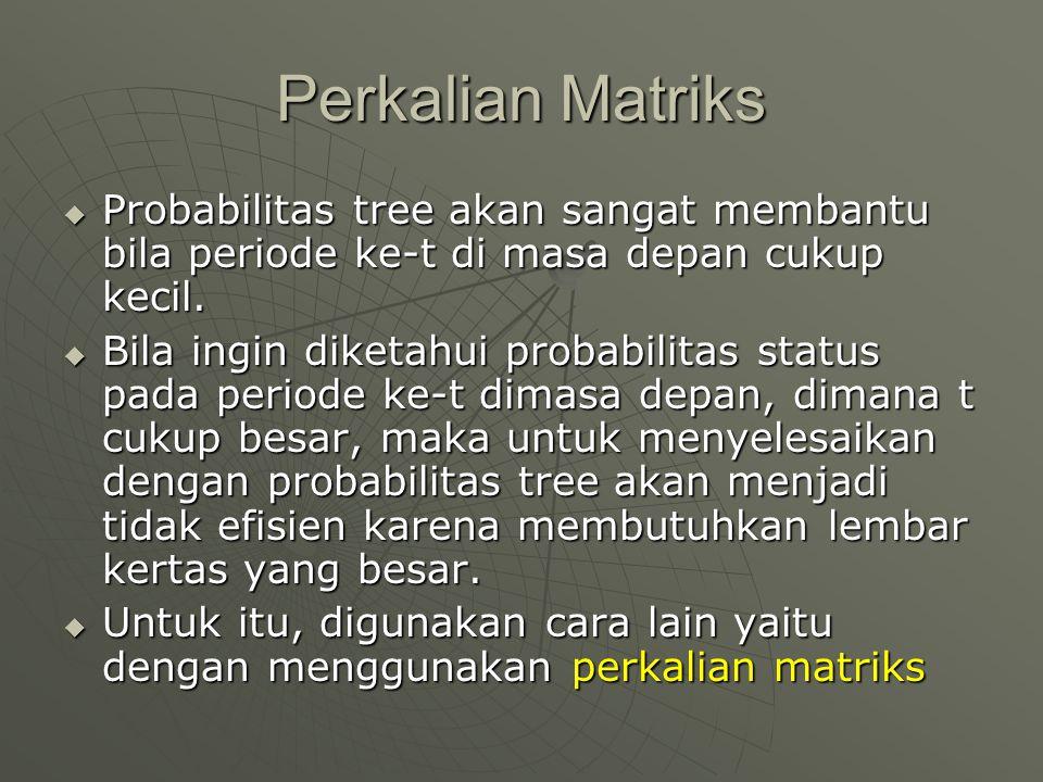 Perkalian Matriks Probabilitas tree akan sangat membantu bila periode ke-t di masa depan cukup kecil.