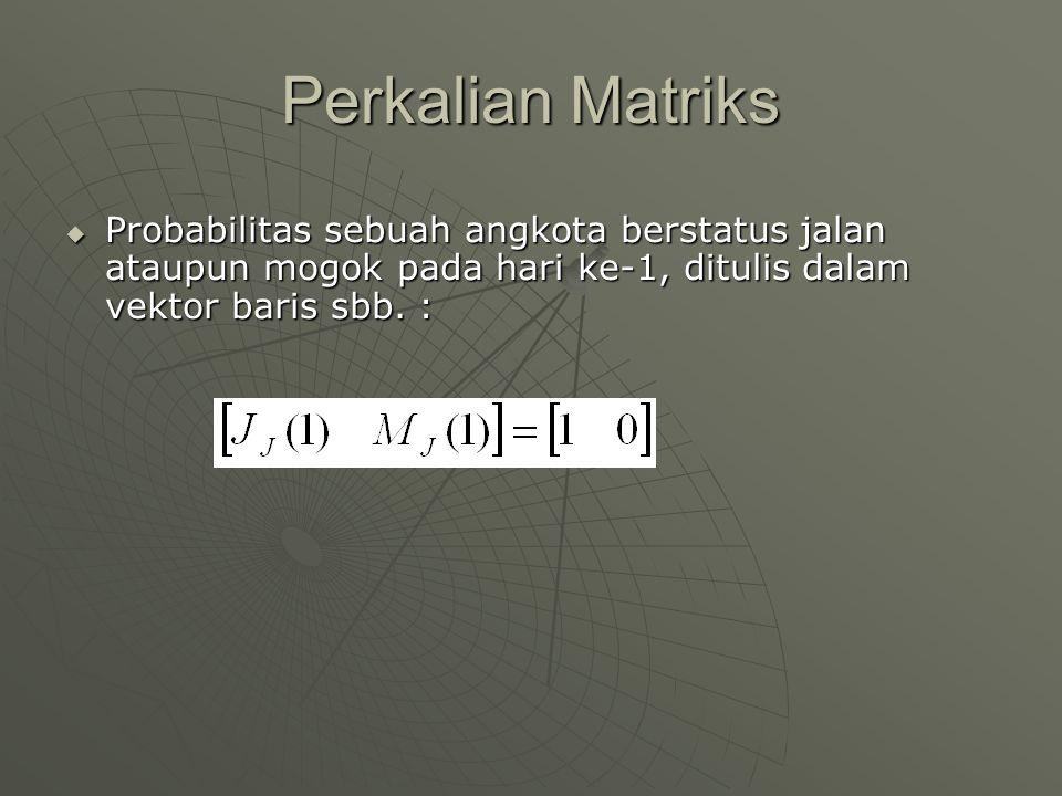 Perkalian Matriks Probabilitas sebuah angkota berstatus jalan ataupun mogok pada hari ke-1, ditulis dalam vektor baris sbb.