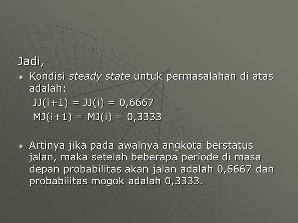 Jadi, Kondisi steady state untuk permasalahan di atas adalah: