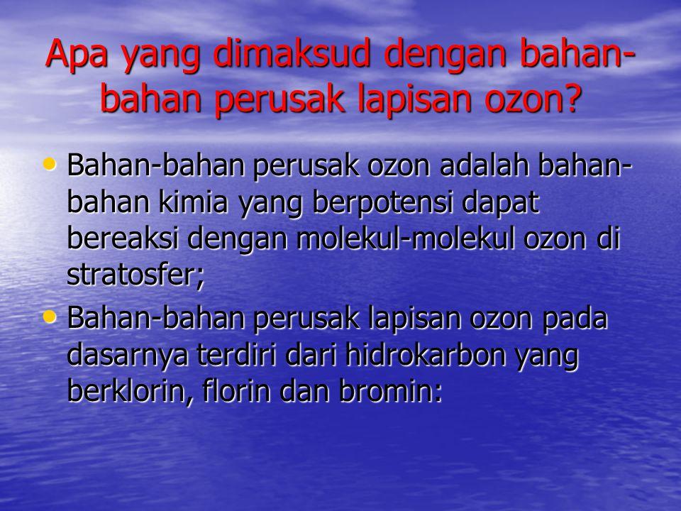 Apa yang dimaksud dengan bahan-bahan perusak lapisan ozon