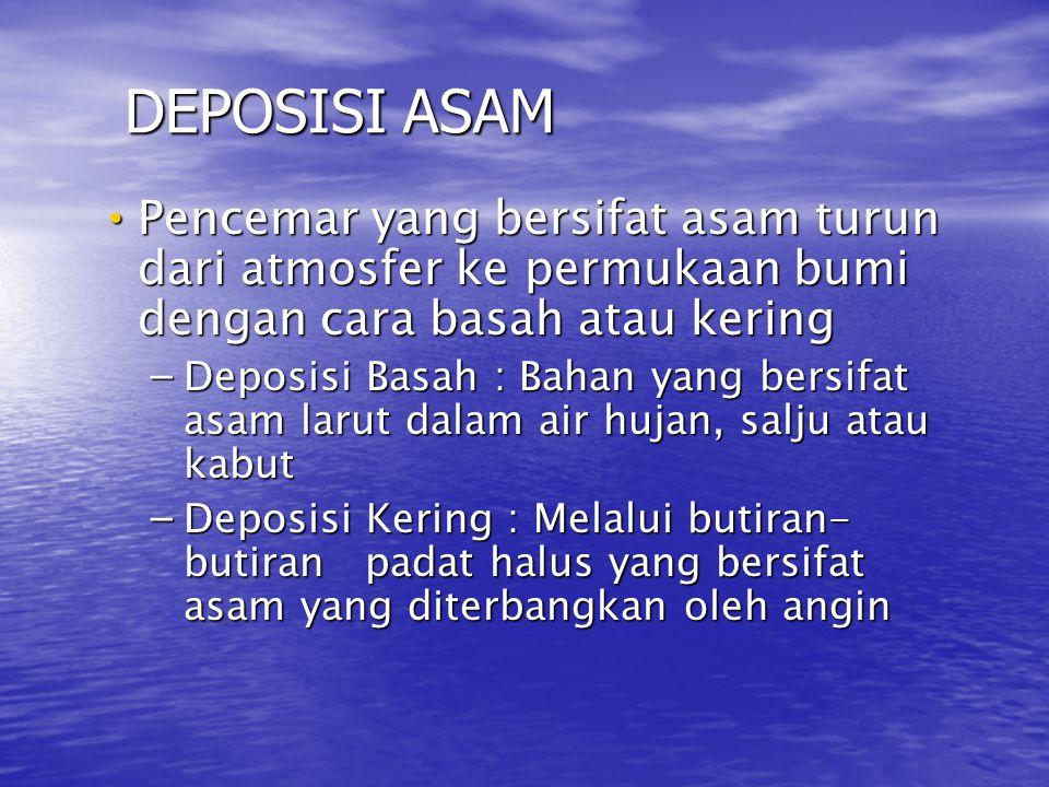 DEPOSISI ASAM Pencemar yang bersifat asam turun dari atmosfer ke permukaan bumi dengan cara basah atau kering.