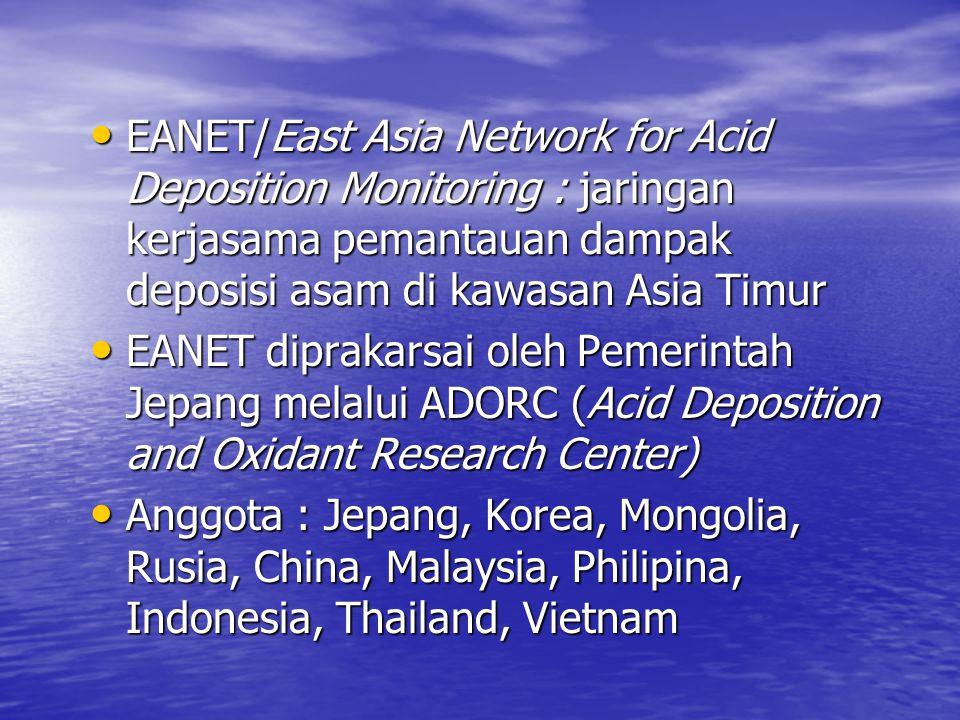 EANET/East Asia Network for Acid Deposition Monitoring : jaringan kerjasama pemantauan dampak deposisi asam di kawasan Asia Timur