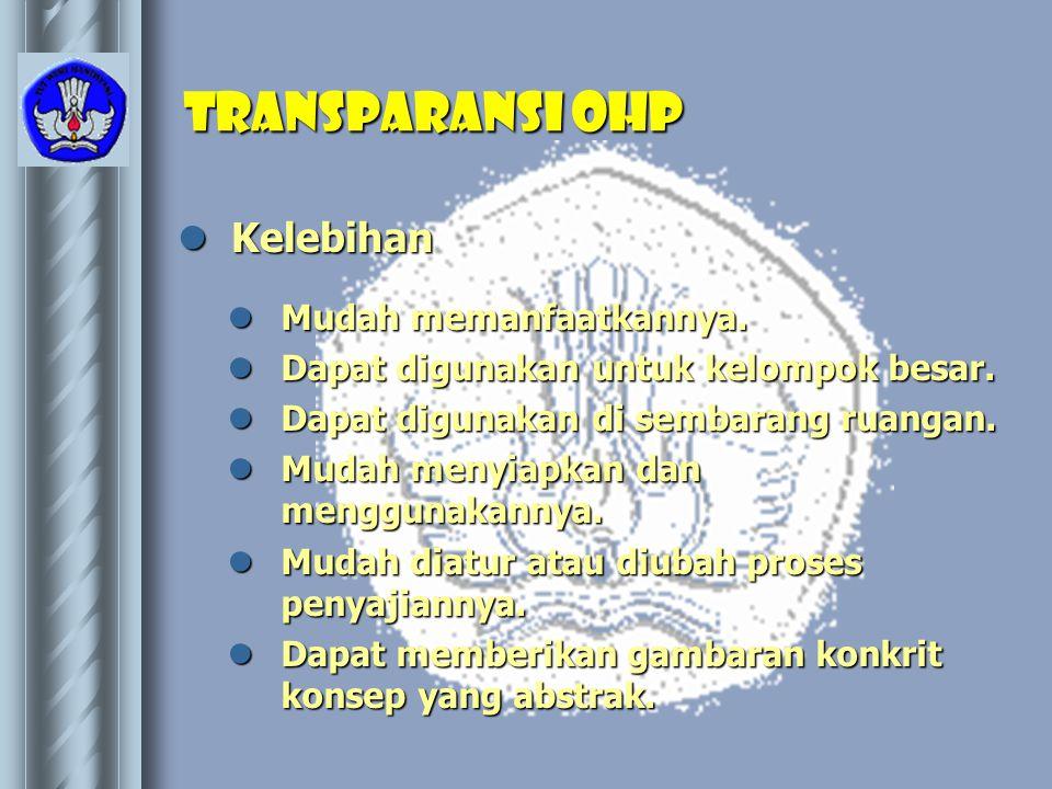 Transparansi OHP Kelebihan Mudah memanfaatkannya.