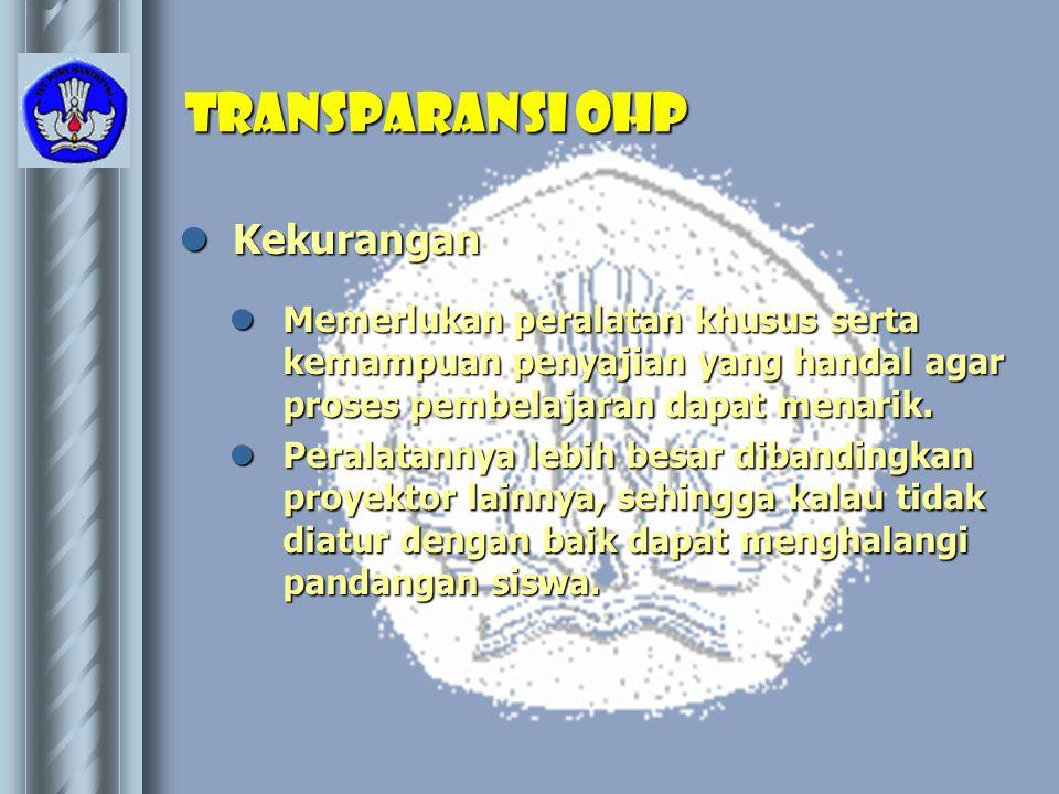 Transparansi OHP Kekurangan