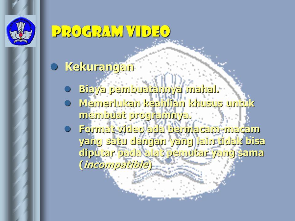 Program video Kekurangan Biaya pembuatannya mahal.