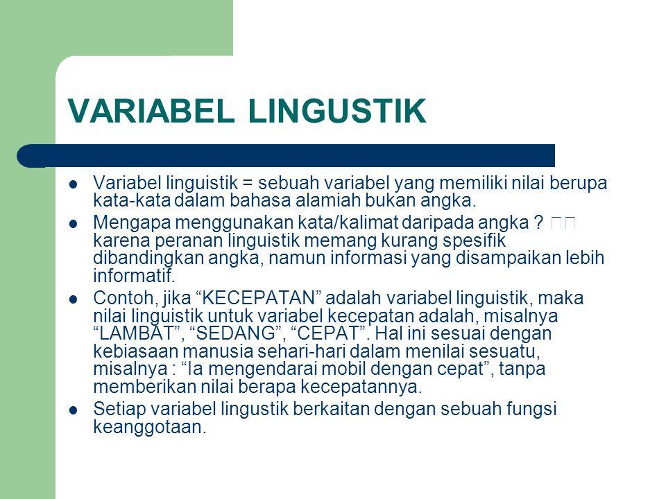 VARIABEL LINGUSTIK Variabel linguistik = sebuah variabel yang memiliki nilai berupa kata-kata dalam bahasa alamiah bukan angka.