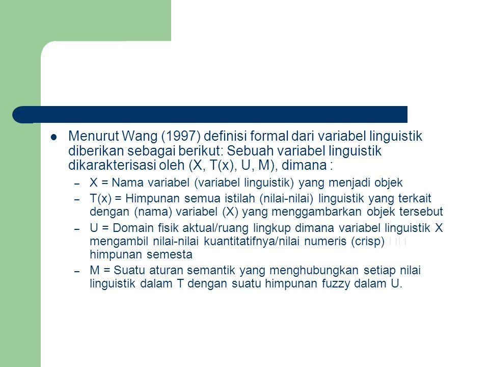Menurut Wang (1997) definisi formal dari variabel linguistik diberikan sebagai berikut: Sebuah variabel linguistik dikarakterisasi oleh (X, T(x), U, M), dimana :
