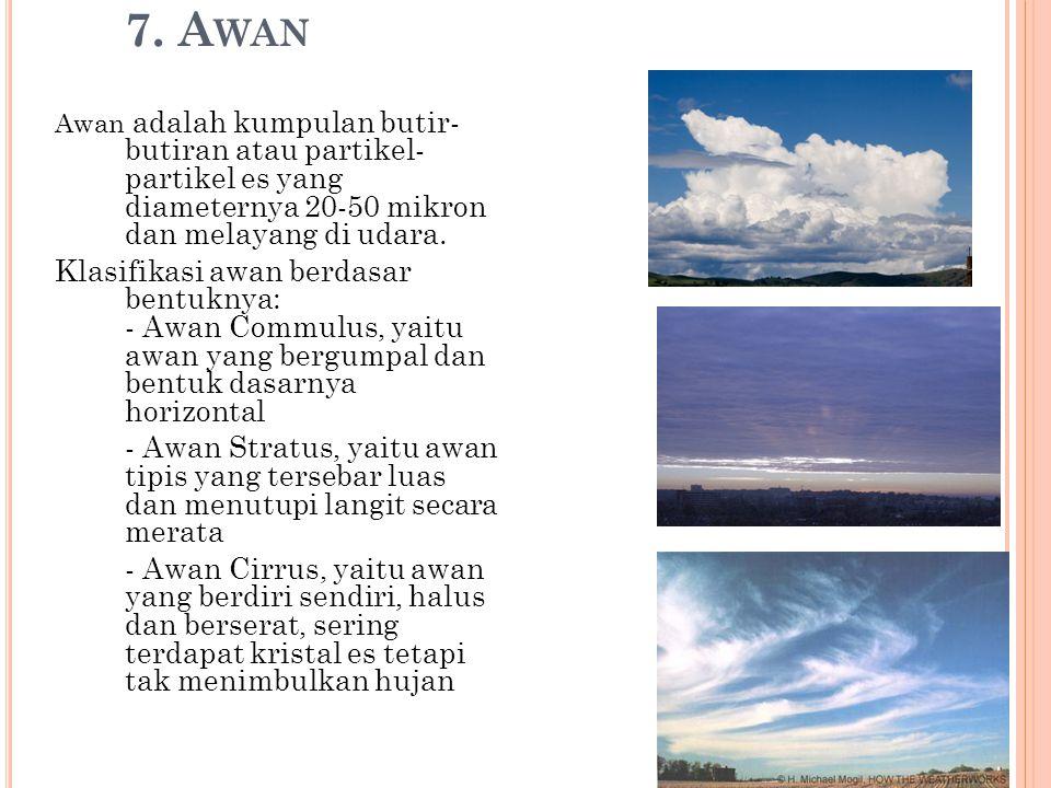 7. Awan Awan adalah kumpulan butir- butiran atau partikel- partikel es yang diameternya 20-50 mikron dan melayang di udara.