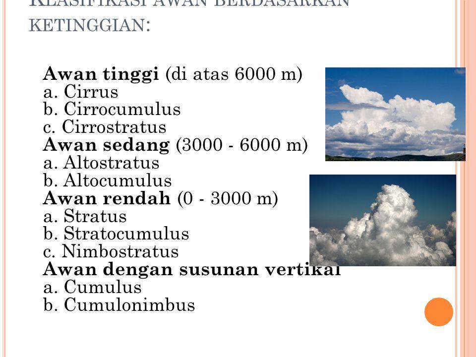 Klasifikasi awan berdasarkan ketinggian: