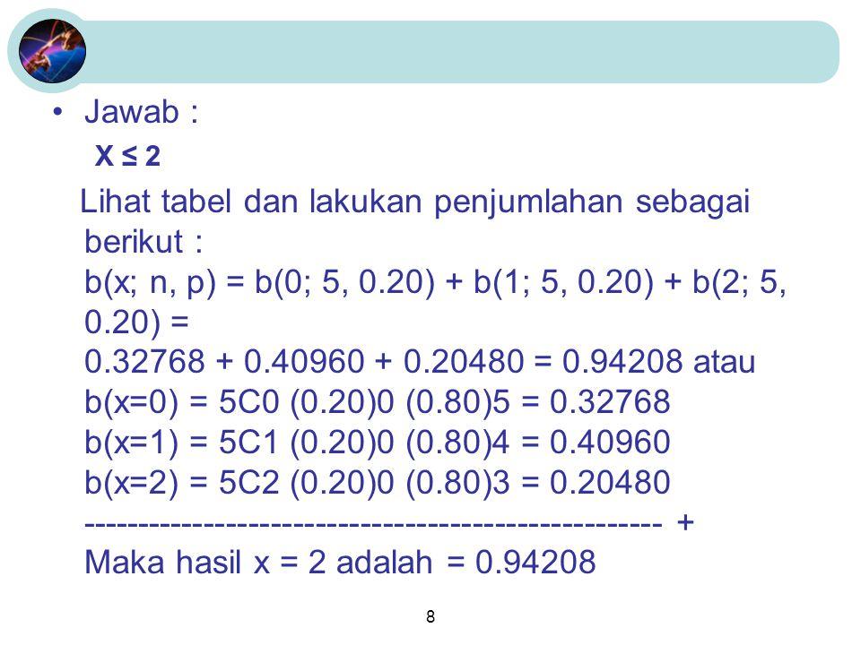 Jawab : X ≤ 2.