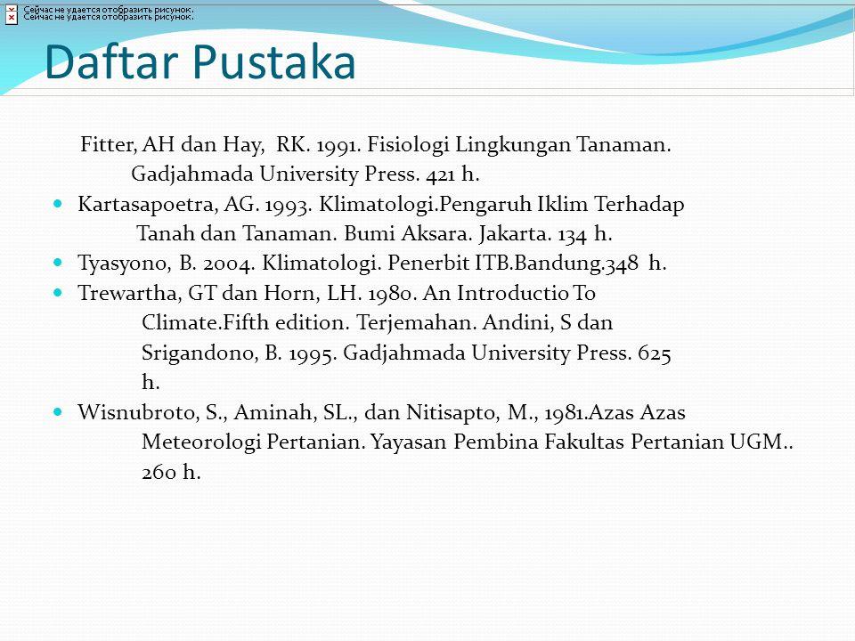 Daftar Pustaka Fitter, AH dan Hay, RK. 1991. Fisiologi Lingkungan Tanaman. Gadjahmada University Press. 421 h.