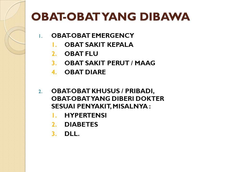OBAT-OBAT YANG DIBAWA OBAT-OBAT EMERGENCY OBAT SAKIT KEPALA OBAT FLU