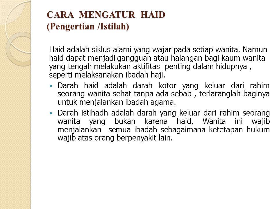 CARA MENGATUR HAID (Pengertian /Istilah)