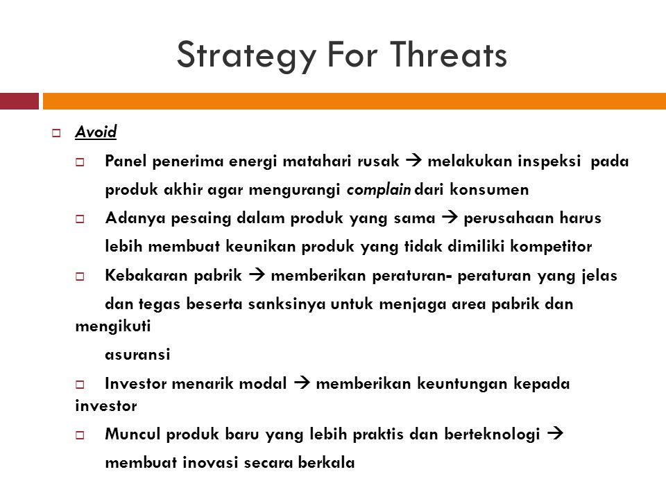 Strategy For Threats Avoid