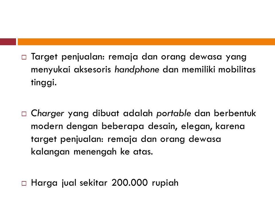 Target penjualan: remaja dan orang dewasa yang menyukai aksesoris handphone dan memiliki mobilitas tinggi.