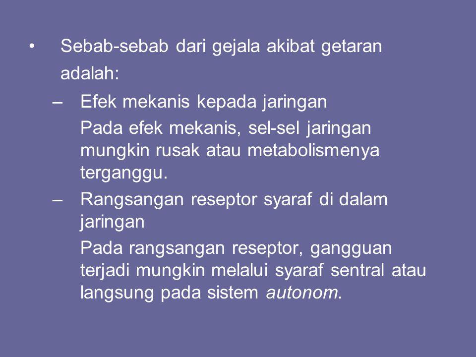 Sebab-sebab dari gejala akibat getaran adalah: