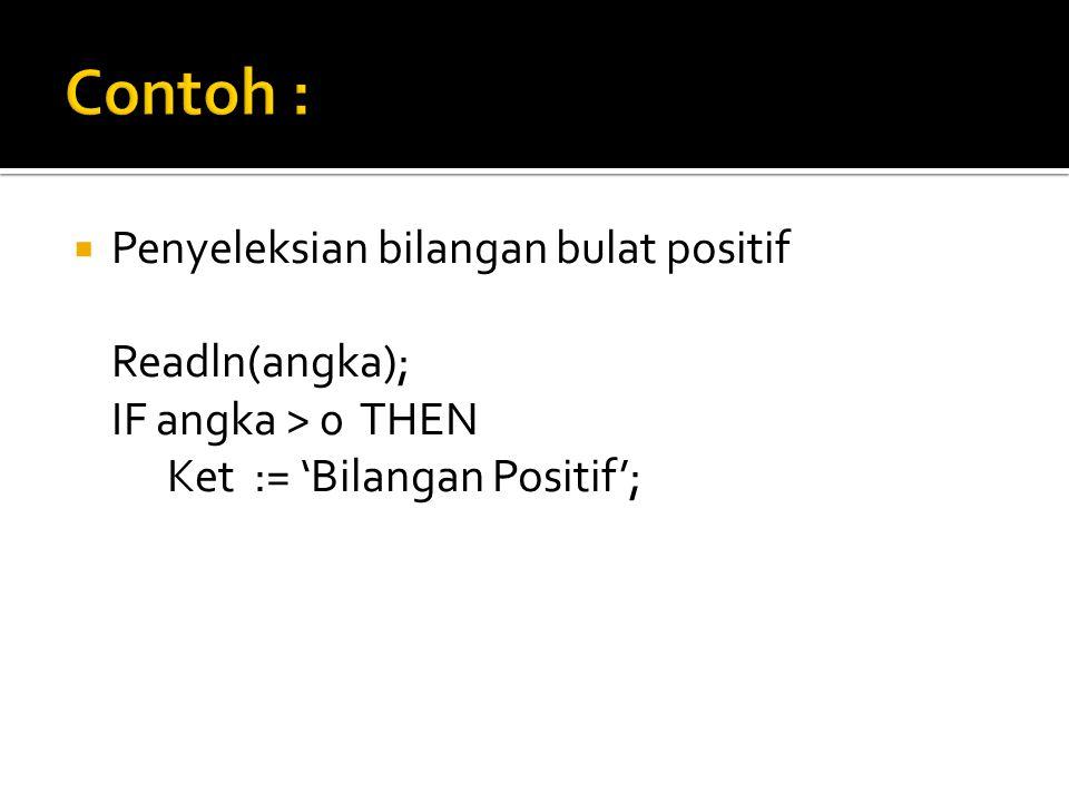 Contoh : Penyeleksian bilangan bulat positif Readln(angka);