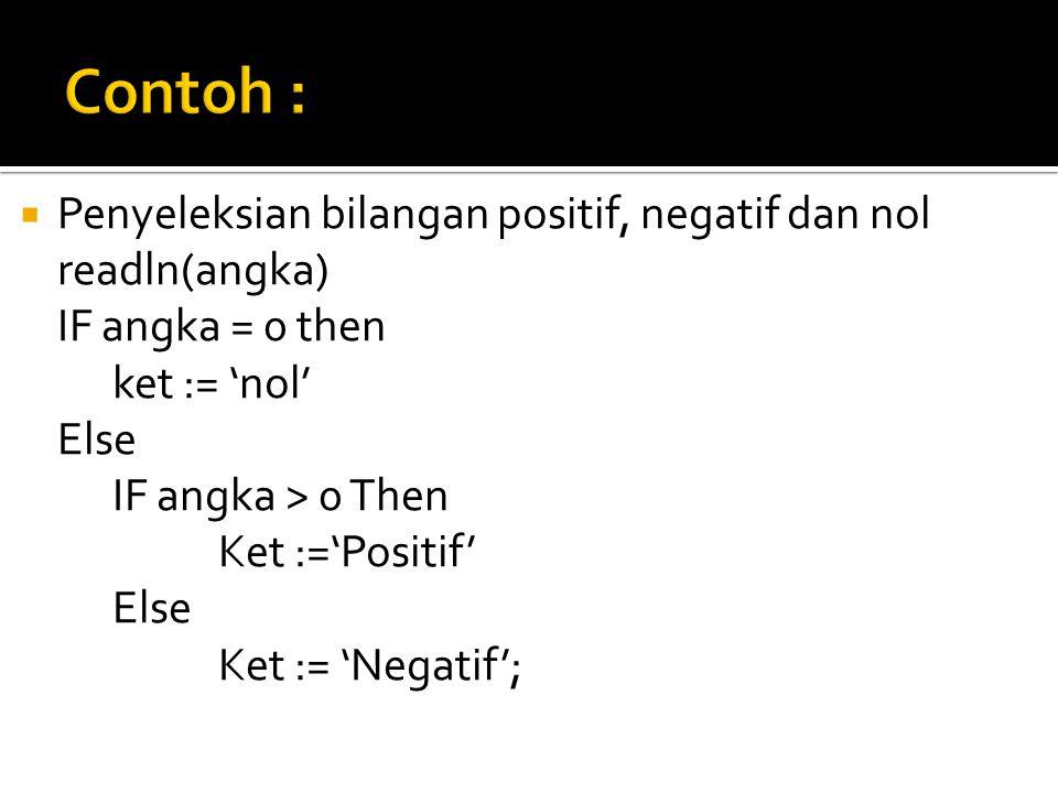 Contoh : Penyeleksian bilangan positif, negatif dan nol readln(angka)
