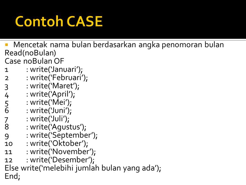 Contoh CASE Mencetak nama bulan berdasarkan angka penomoran bulan