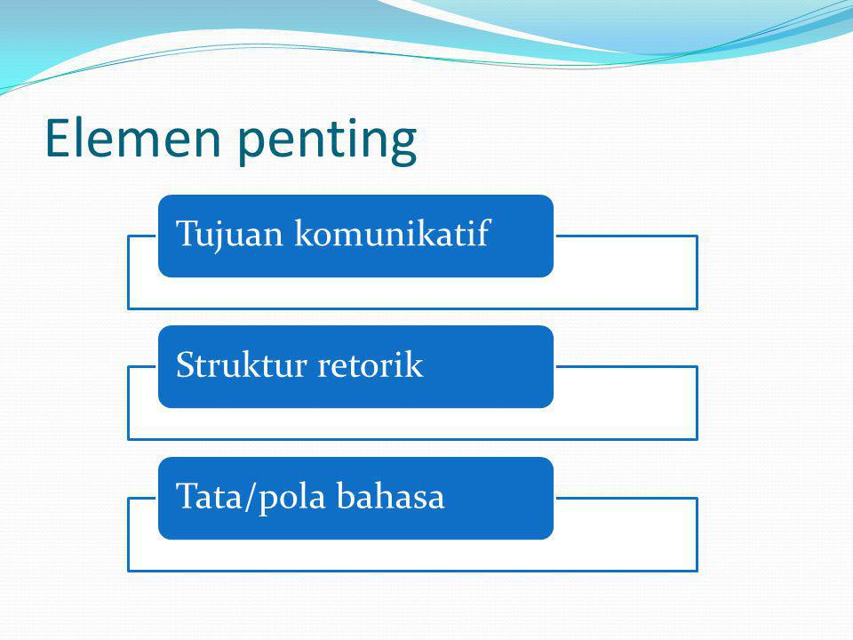 Elemen penting Tujuan komunikatif Struktur retorik Tata/pola bahasa