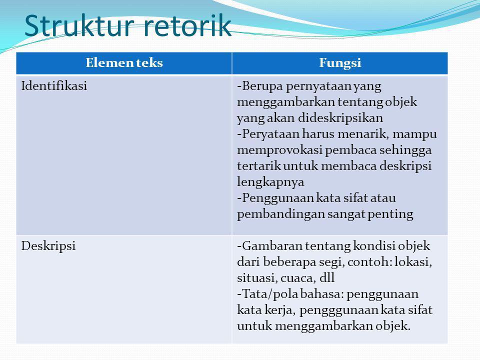 Struktur retorik Elemen teks Fungsi Identifikasi
