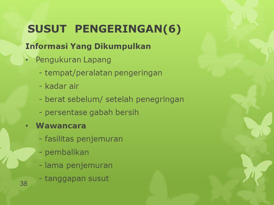 SUSUT PENGERINGAN(6) Informasi Yang Dikumpulkan Pengukuran Lapang