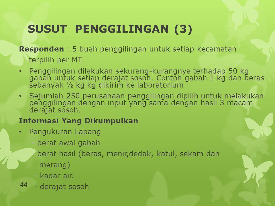 SUSUT PENGGILINGAN (3) Responden : 5 buah penggilingan untuk setiap kecamatan. terpilih per MT.