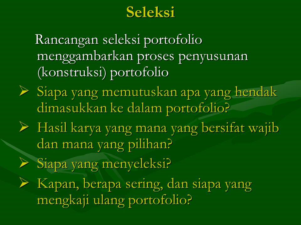 Seleksi Rancangan seleksi portofolio menggambarkan proses penyusunan (konstruksi) portofolio.