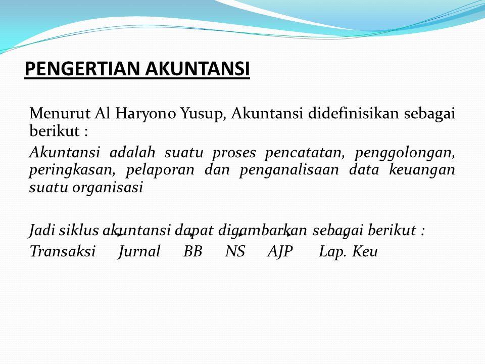 PENGERTIAN AKUNTANSI Menurut Al Haryono Yusup, Akuntansi didefinisikan sebagai berikut :