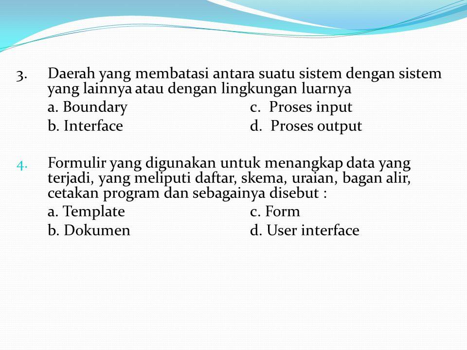 3. Daerah yang membatasi antara suatu sistem dengan sistem yang lainnya atau dengan lingkungan luarnya