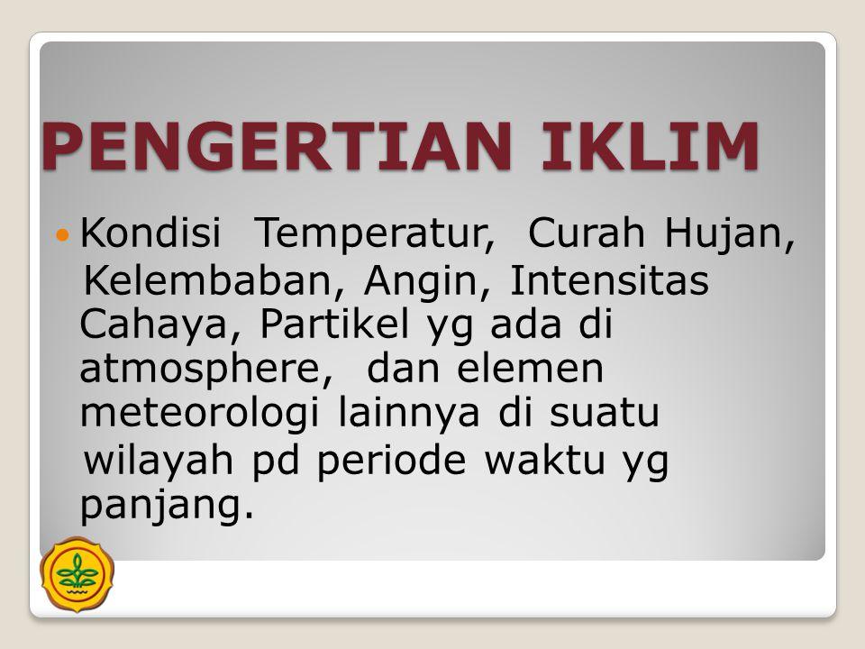 PENGERTIAN IKLIM Kondisi Temperatur, Curah Hujan,