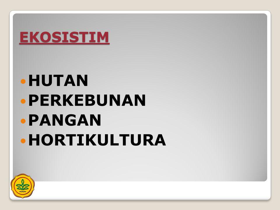 EKOSISTIM HUTAN PERKEBUNAN PANGAN HORTIKULTURA