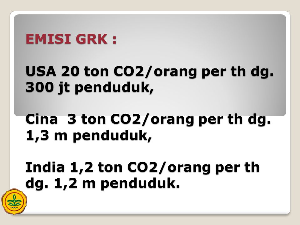 EMISI GRK : USA 20 ton CO2/orang per th dg
