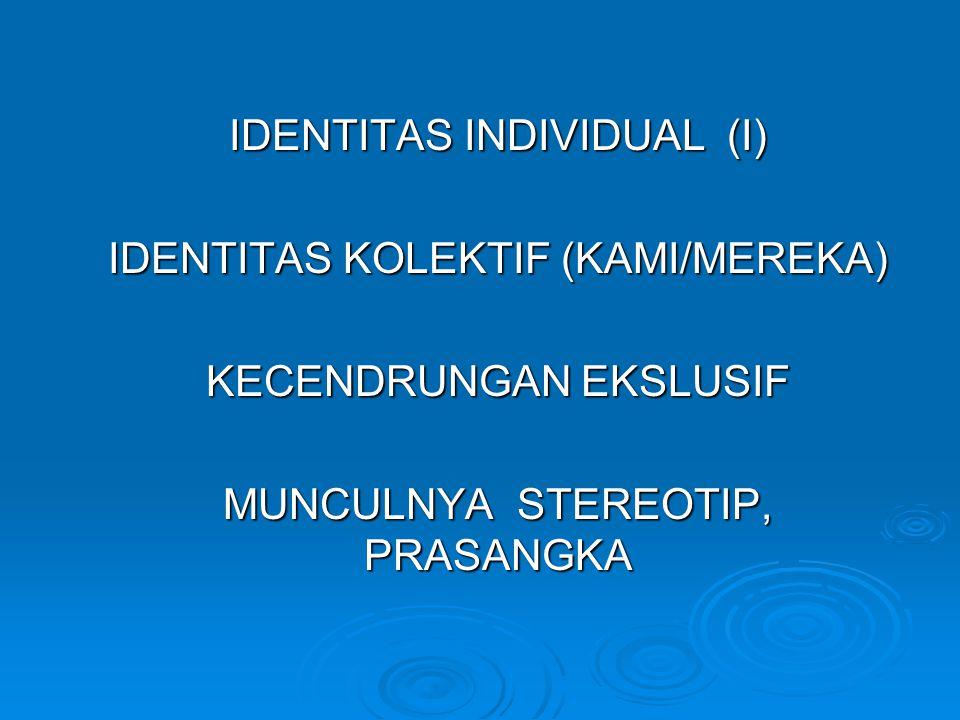 IDENTITAS INDIVIDUAL (I) IDENTITAS KOLEKTIF (KAMI/MEREKA)