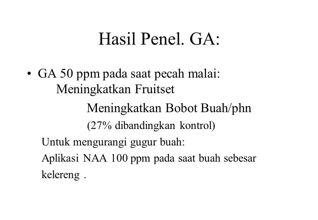 Hasil Penel. GA: GA 50 ppm pada saat pecah malai: Meningkatkan Fruitset. Meningkatkan Bobot Buah/phn.