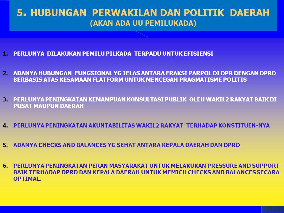 5. HUBUNGAN PERWAKILAN DAN POLITIK DAERAH (AKAN ADA UU PEMILUKADA)
