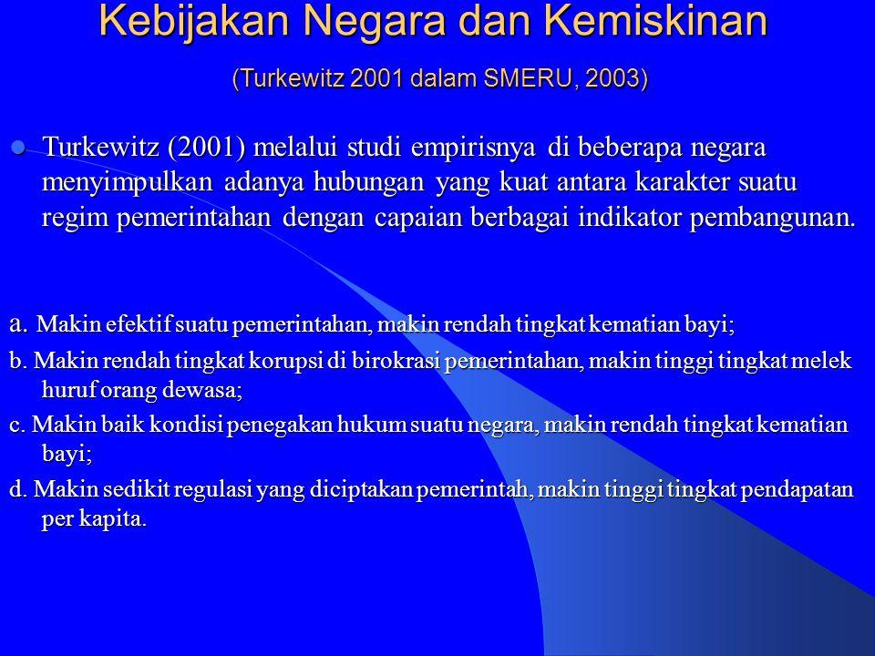 Kebijakan Negara dan Kemiskinan (Turkewitz 2001 dalam SMERU, 2003)
