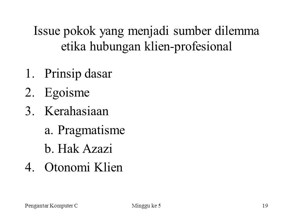 Issue pokok yang menjadi sumber dilemma etika hubungan klien-profesional