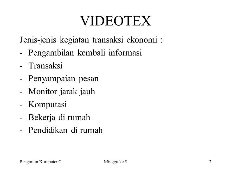 VIDEOTEX Jenis-jenis kegiatan transaksi ekonomi :