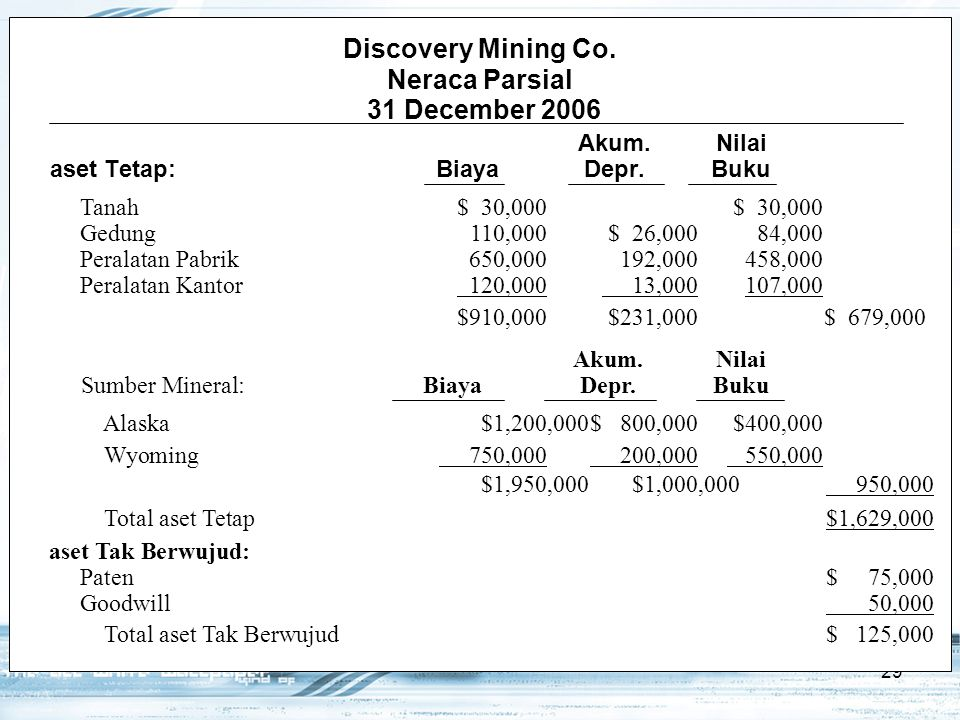 Discovery Mining Co. Neraca Parsial 31 December 2006