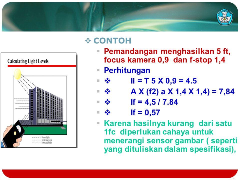 CONTOH Pemandangan menghasilkan 5 ft, focus kamera 0,9 dan f-stop 1,4. Perhitungan. v Ii = T 5 X 0,9 = 4.5.