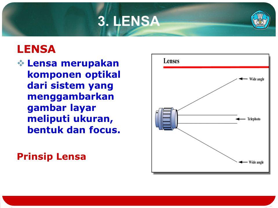 3. LENSA LENSA. Lensa merupakan komponen optikal dari sistem yang menggambarkan gambar layar meliputi ukuran, bentuk dan focus.
