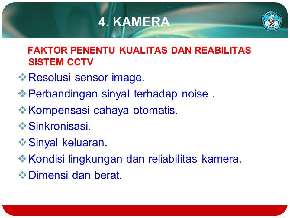 4. KAMERA Resolusi sensor image. Perbandingan sinyal terhadap noise .