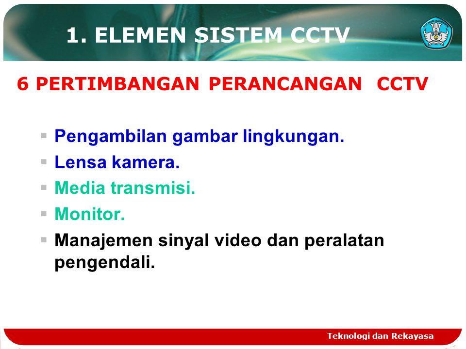 1. ELEMEN SISTEM CCTV 6 PERTIMBANGAN PERANCANGAN CCTV
