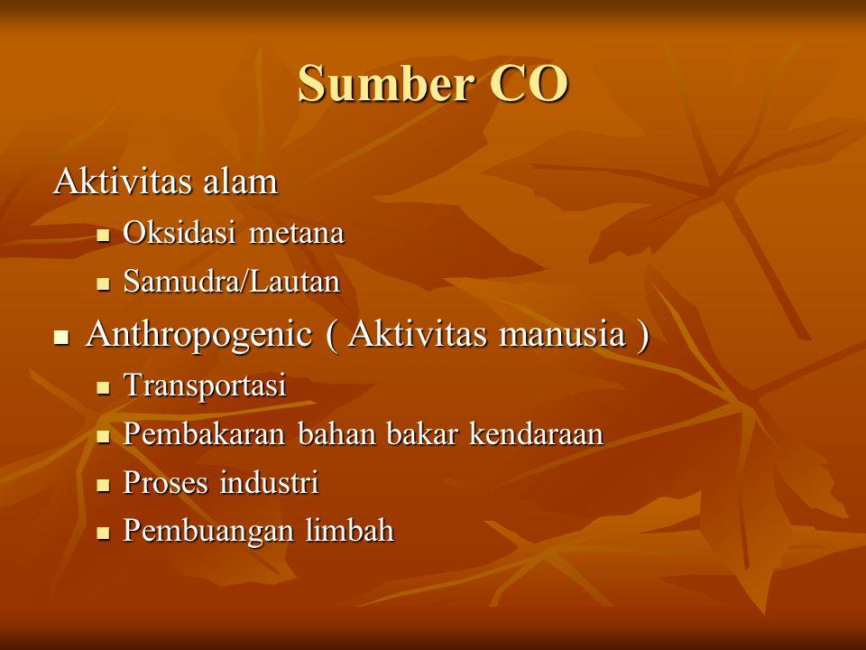 Sumber CO Aktivitas alam Anthropogenic ( Aktivitas manusia )