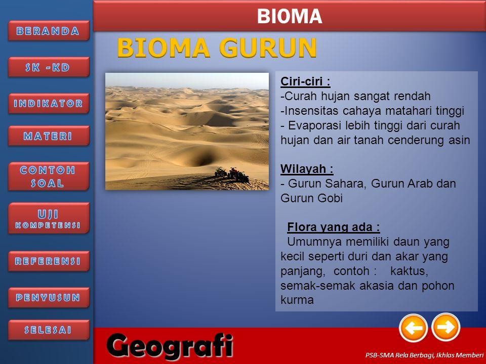 BIOMA GURUN BIOMA Ciri-ciri : Curah hujan sangat rendah